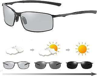 Gsdxz - 2021 Nuevo Gafas de Sol fotocromáticas para Hombre polarizadas para Conducir con Marco de Metal con protección 100% UVA UVB (Negro)