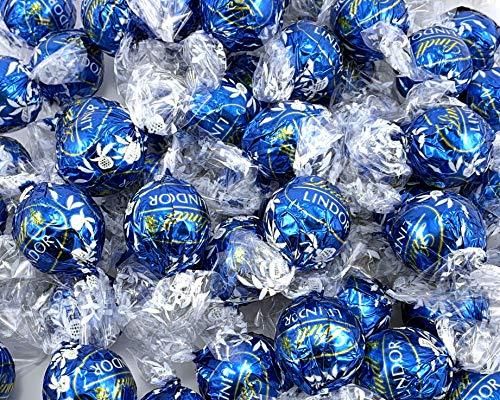 LaetaFood Lindt Lindor Sea Salt Milk Chocolate Truffles Candy, Blue Wrap (2 Pound Bag)
