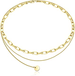 Une Douce Layered Choker Necklaces for Women, 14k Gold Plated Statement Necklaces, Delicate Link Chain Necklaces, Dainty Coin Pendant Choker Necklace Set, Trendy for Jewelry, Gift for Women and Girls