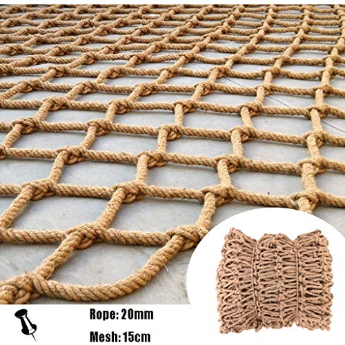 Hemp Rope Decoration Net Rope Net Climbing Bold,Safety Netting for Fall Prevention,Natural Jute Material,for Outdoor Playground School,20mm/15cm,Multiple Sizes (Size : 1x9m)