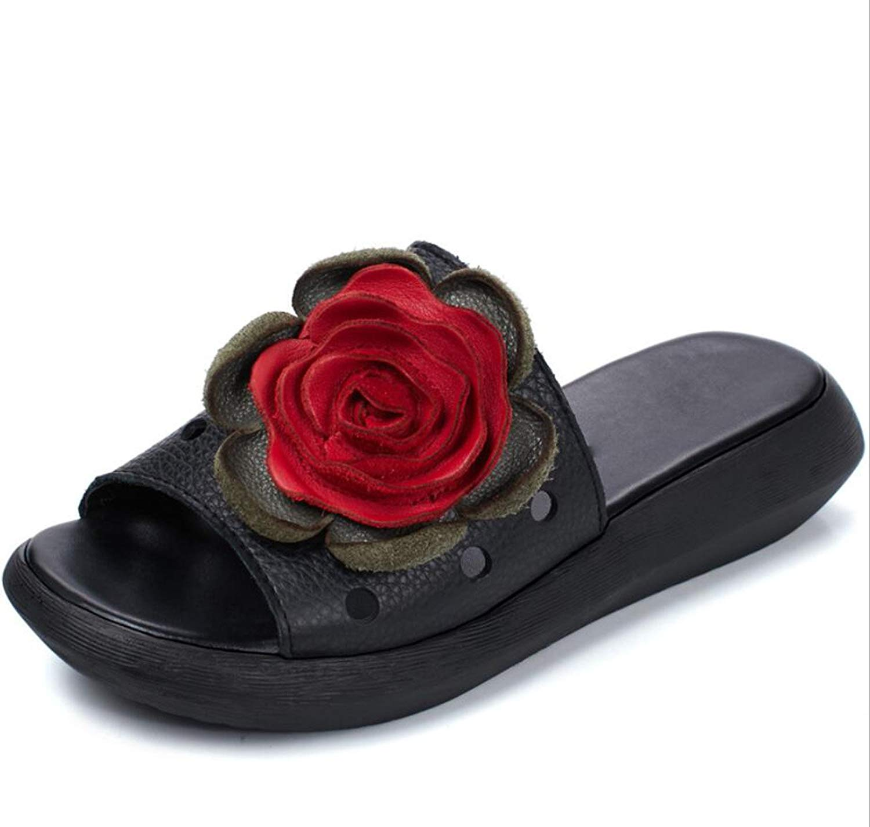 DeANJIE Infradito donna Estate Stile Hefatto Fiori Ritaglio Seali e Pantofole Stile Etnico Sautope da Donna Open Toe Seali