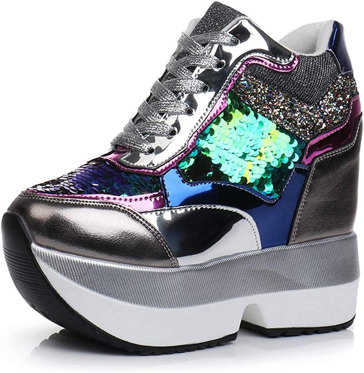 CYBLING Women's Sparkle Sequins High Top Wedge Fashion Sneakers Hidden Heel Platform Casual shoes