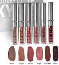 Kimsaprincess kylie jenner birthday Edition - 6PCS Women Long Lasting Lip Gloss Beauty Glaze Matte Liquid Lipstick Makeup Tool Set(Silver)