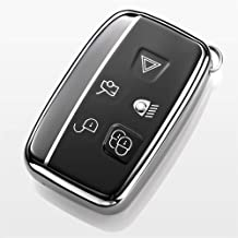 Royalfox(TM) 5 Buttons Full TPU Smart keyless Entry Remote Key Fob case Cover for Land Rover Defender Discovery Sport LR3 LR4 Range Rover Sport Evoque Velar,Jaguar XF XJ XJL XE F-PACE (Silver/Black)