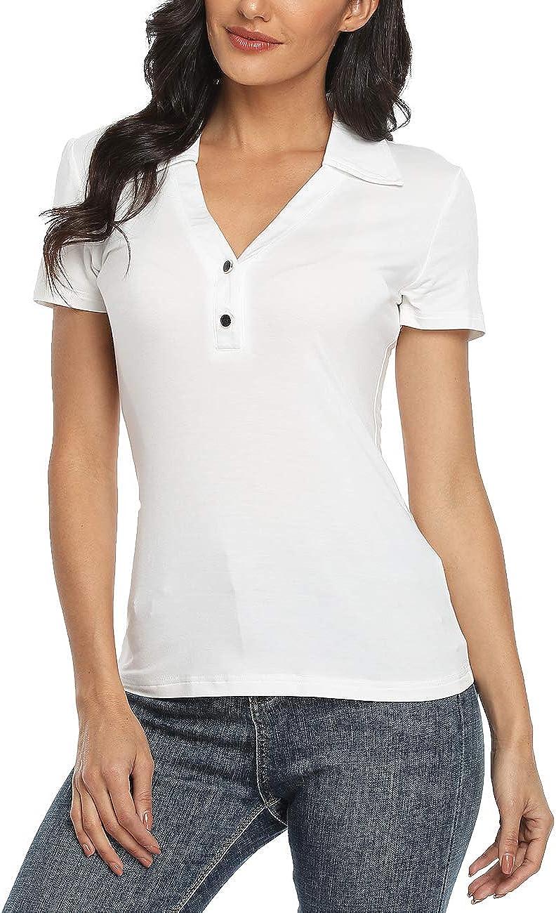 Dilgul Women Collared V Neck Short Sleeve Polo Shirt Buttons Blouse Tops