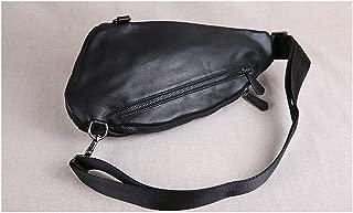 SF Leather Chest Bag Men's Casual Bag Soft Leather Shoulder Messenger Bag Head Layer Leather Men's Bag Korean Version of The Tide Outdoor Backpack (Color : Black)