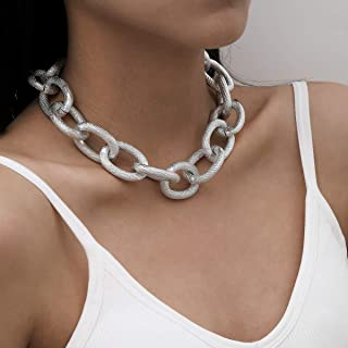 BERYUAN Chic Cuban Link Chain for Women Silver Chain Chunky Necklace for Teen Girls Punk Charm (silver)