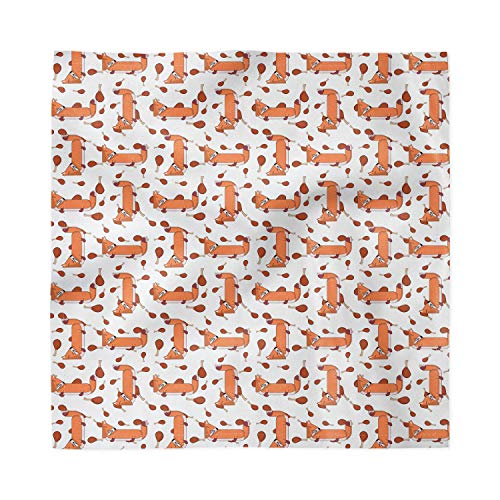 Ambesonne Fox Decorative Satin Napkins Set of 4, Repetitive Pattern of Cartoon Design Wild Animal and Meat, Square Printed Fabric Party & Dinner Napkin, 18', Burnt Sienna Cinnamon