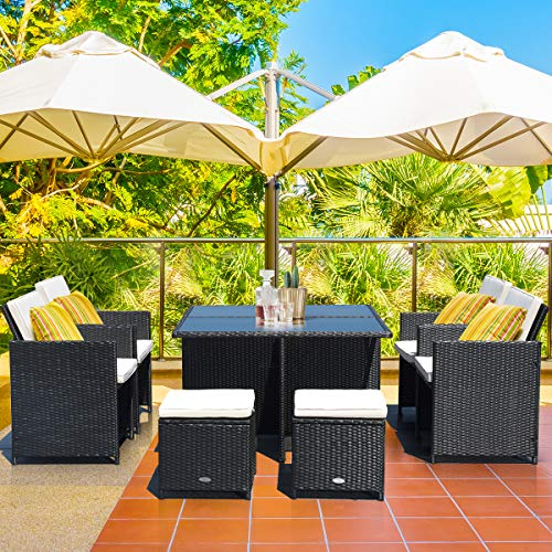 Tangkula 9 Pieces Patio Dining Sets, Outdoor Wicker Rattan Sofas and Tempered Glass Table Sectional Set, Patio Rattan Conversation Set for Backyard Poolside Balcony (Black)