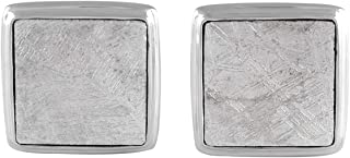 Starborn Creations Sterling Silver Square Gibeon Meteorite Cuff Links