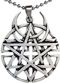 Punk Rock Biker Heavy Metal Gothic Jewelry Unbiased All religion Coexist Disturbed Pewter Pendant Men's Necklace for men unisex Protection Amulet Lucky Charm Medallion Talisman w Silver Ball Chain