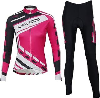 Ilpaladino de Manga Larga de Las Mujeres Jersey Blusas Licras de Ciclismo de compresión Pantalones Tights Kit Set