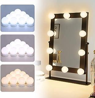 Luces de Espejo, Elegear Luces LED Espejo Estilo Hollywood 3 Modos de Color y 10 Bombillas Regulables, 5,8M Luces Tocador kit USB para Mesa Cosmético Baño Vestidor, No Include Espejo