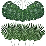 Auihiay 48 Pieces 4 Kinds Tropical Leaves with Jungle Leaf Monstera Leaves...
