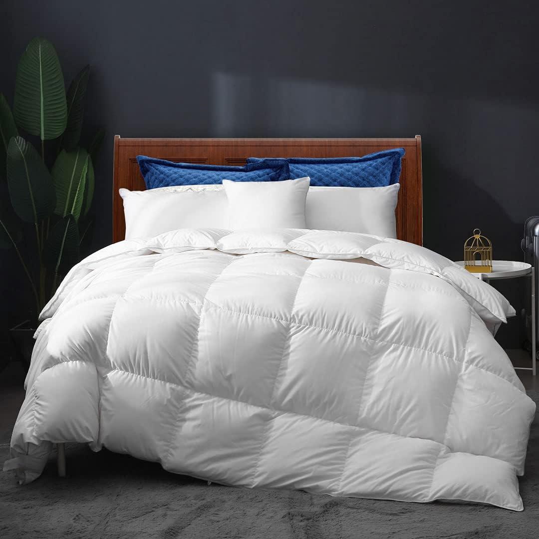 APSMILE All Seasons Goose Down Comforter King Size Down Duvet - Ultra-Soft Egyptian Cotton, 750 Fill-Power 55oz Cloud Fluffy Medium Warm Quilt Comforter Insert(106x90, Solid White)