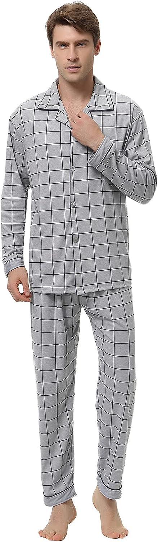 Mens 2 Piece Pajamas Set Cotton Long Sleeve Pjs Sleepwear Loungewear Soft