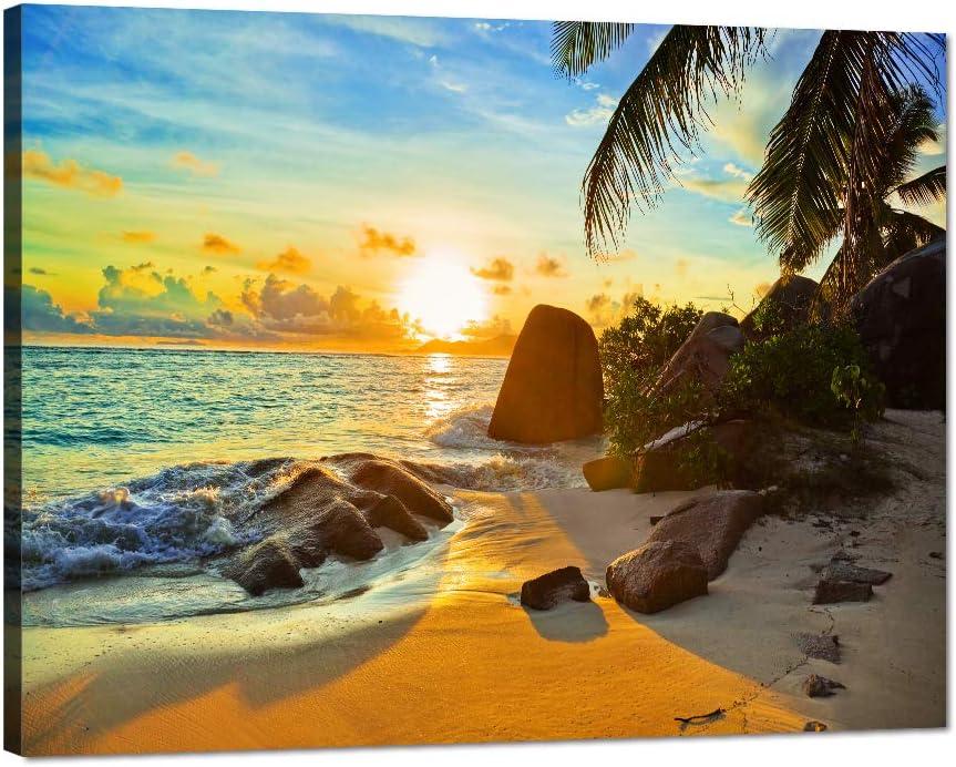 Sunset shipfree Beach Ocean Painting on Canvas Miami Mall Beautiful Piece Wall Art 1