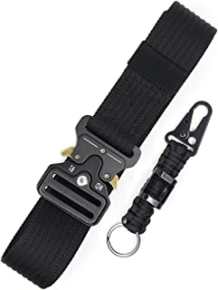 Tactical Belt Adjustable Heavy Duty Utility Belts Outdoor Training Carry Waist Belt Military Style Nylon Webbing Riggers Belt with Quick Release Metal Buckle and Extra Paracord Keychain Carabiner