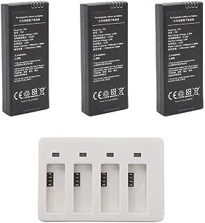 Anbee 1100mAh 3.8V バッテリー 充電式リポ電池 3個セット + 4ポート充電器 DJI Ryze Tello/Tello EDUドローンに対応