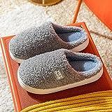 Memory Foam Zapatos,Pantuflas Simples de algodón de Suela Gruesa, Zapatos de confinamiento Ligeros y cómodos-Grey_42-43,Classic Slipper