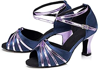 COCNI 2020 New Summer Womens Latin Dance Shoes,Soft Bottom Middle Heels Bright Side Social Dancing Shoes Indoor Sandals PU Comfortable Dance Shoes Indoor Soft Bottom Dance Shoes