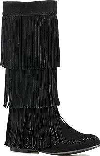 ShoBeautiful WomensLayered Fringe Mocassin Knee High Zipper Flat BootFaux Suede