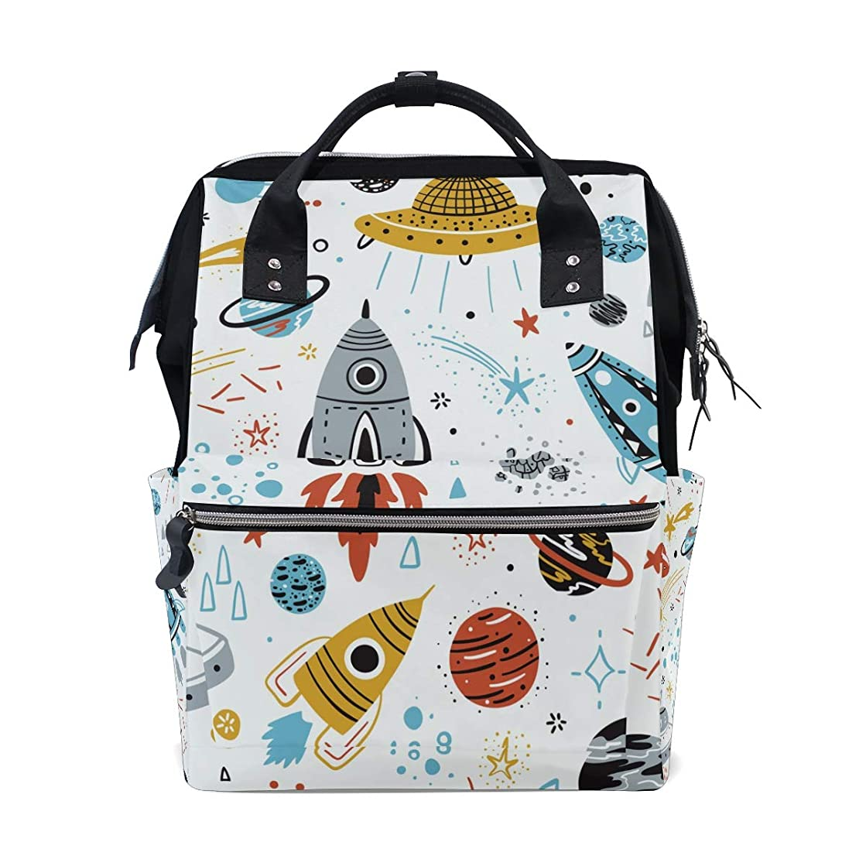 Cartoon Rocket Spaceship Planet School Backpack Large Capacity Mummy Bags Laptop Handbag Casual Travel Rucksack Satchel For Women Men Adult Teen Children