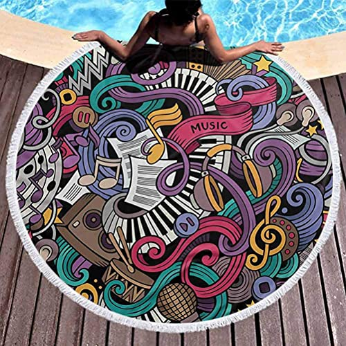 Toalla redonda para yoga, Doodle, para mujer, toalla de playa,
