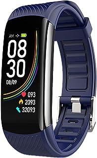 Fitness Activity Tracker Smart Watch Reloj para hombres Mujeres, medidor de ejercicios Paso Distancia Distancia MEDICIÓN CORAZÓN CORAZÓN Presión arterial Blood Oxygen Sleep Pulsera inteligente,Azul