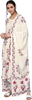 Ishin Women's Cotton Off White Printed A-Line Kurta Palazzo Dupatta Set