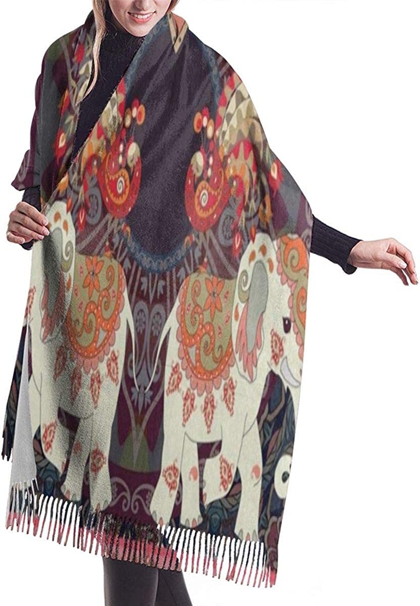 TEAL FEATHERS FLORAL ABSTRACT PRINT MEDIUM WEIGHT WINTER TASSEL SCARF WRAP