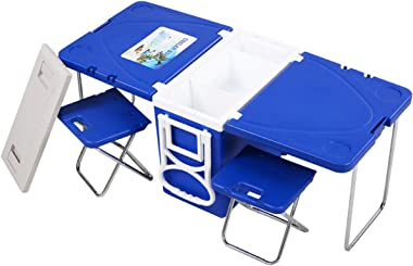 Wakrays Multi Function Rolling Cooler Picnic Camping Outdoor w/Table and 2 Chairs Blue