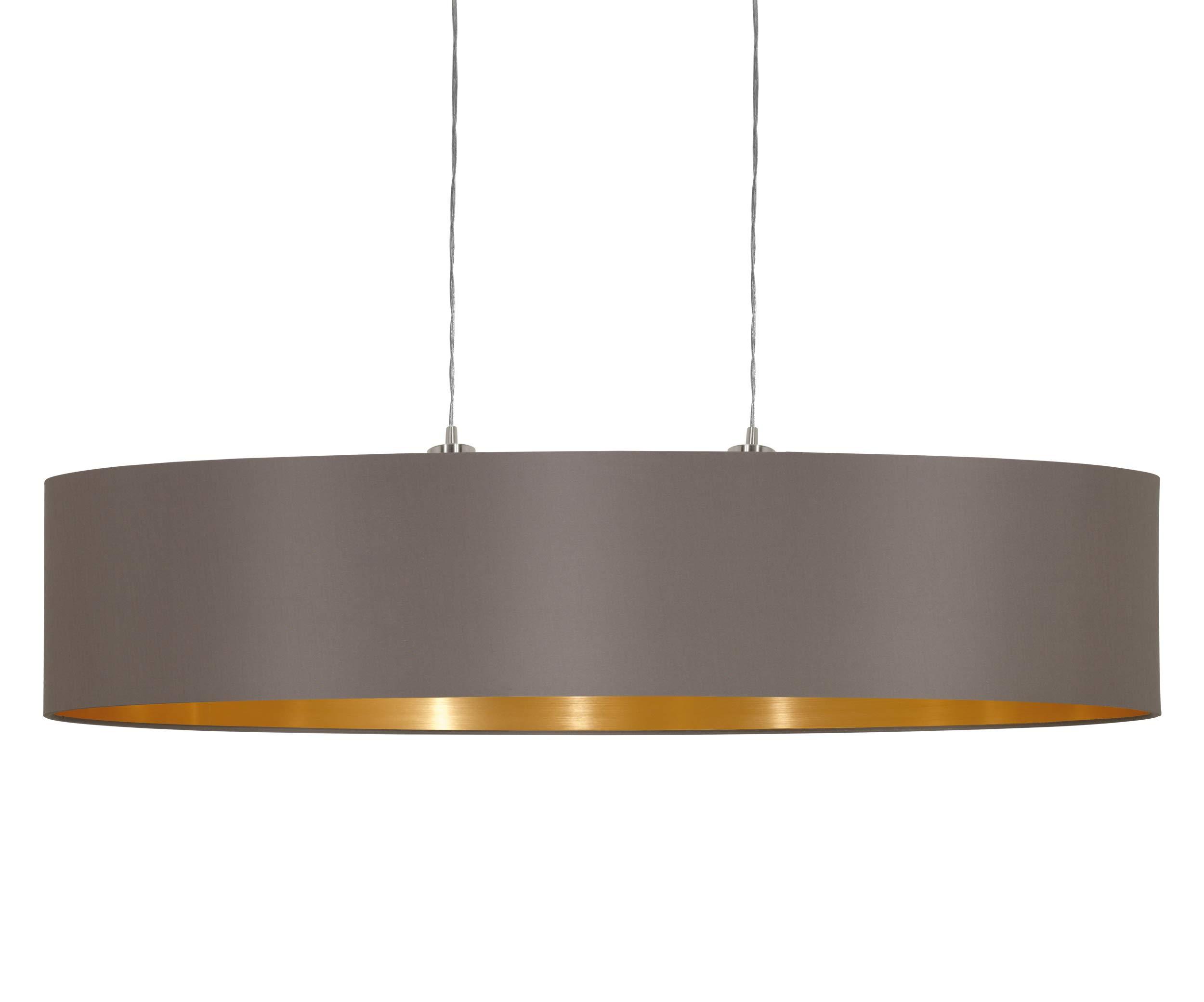 Eglo 31619 Maserlo - Lámpara de techo, con pantalla de níquel mate, Marrón/Acero dorado, 100 cm: Amazon.es: Iluminación