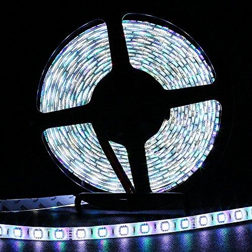 JOYLIT LED Strisce 300 SMD 5M RGB + Bianco freddo 5050 RGBW (multicolore e Bianco freddo) 12V Impermeabile Flessibile Adesivo