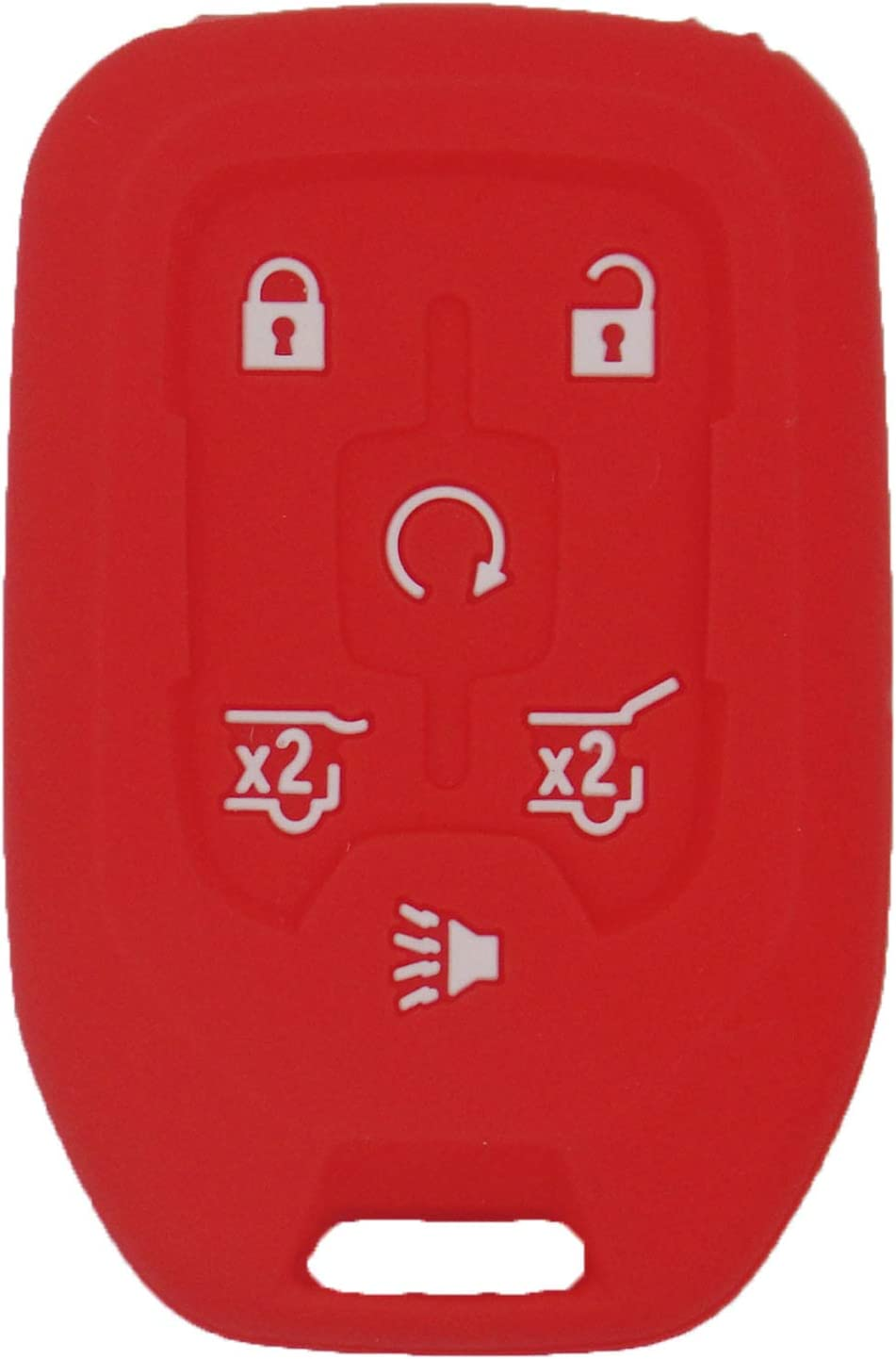 LemSa 2Pcs Rubber 6 Buttons Key Fob Cover Case Remote Keyless Protector Bag Holder Compatible with Chevrolet Tahoe Suburban GMC Yukon XL 2015-2019 Red Pink