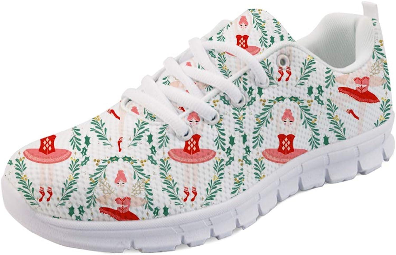 UNICEU Womens Sneakers Ballet Dance Princess Print Breathable Mesh Walking Gym Tennis Athletic Running shoes