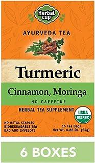 HERBAL CUP TURMERIC CINNAMON MORINGA TEA - 6 Pack, 96 Tea Bags Total ORGANIC