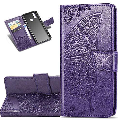 COTDINFOR Etui für Motorola Moto E6 Plus Hülle PU Leder Schutzhülle Magnet Tasche Flip Handytasche im Bookstyle Kartenfächer Lederhülle für Motorola Moto E6 Plus Flower Butterfly Dark Purple SD