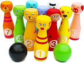 TOWO Juego de Bolos de Madera con 12 Bolos de Colores y animales- Bolos de Juguete con números para aprende a Contar y aprender los Colores y los animales - Juegos Deportivos para niños