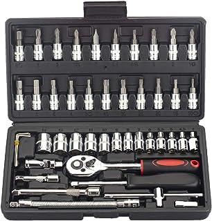 FLZOSPER Juego de 46 puntas de destornillador de 1/4 pulgadas con llave de trinquete reversible para reparación de automóv...