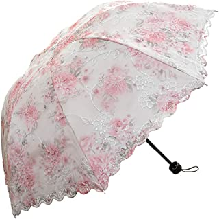 Lace Folding Travel Parasol Lightweight Folding Anti-uv Vintage Embroidered Sun Protection (Pink)
