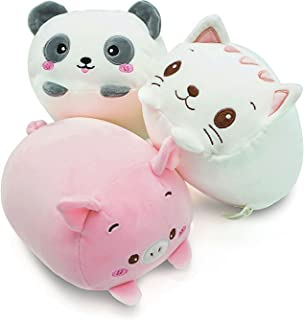 "Plush Toys Set, 3Pcs Stuffed Animals with Panda, Pig and Cat, Creative Decoration Cuddly Plush Pillows 9"" for Kids Girls B..."