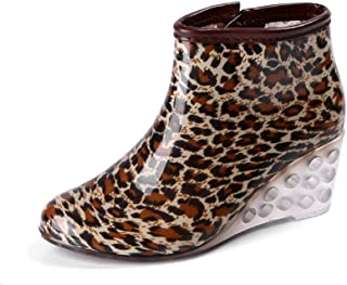 Rubber Boots Woman Shiny Short Rain Shoes Waterproof Polka dot Zipper Wedge Sole Skeleton