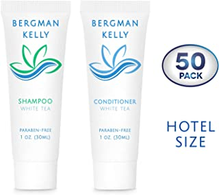 BERGMAN KELLY Travel Shampoo and Conditioner Set (1 fl oz, 100 Pieces, White Tea), Delight Your Guests with a Revitalizing and Refreshing Hotel Toiletries and Guest Hospitality in Bulk