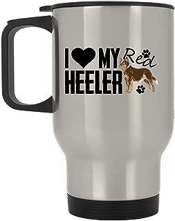 Red Heeler Travel Mug - I Love My Red Heeler Stainless Steel Mug, Travel Mug - Silver