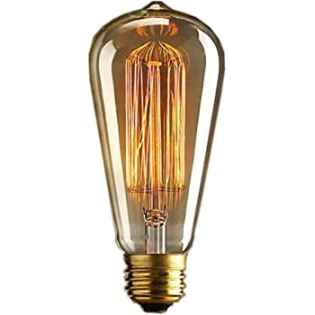 DSYJ for Antique Vintage Incandescent Edison Light Bulb, 60W 110V 2100K E26/E27 ST64 Base Squirrel Cage Filament Lamp Bulb for Home Office Fixtures, Pendant Decorative Ceiling Chandelier, Amber Warm