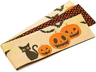 [でぃあじゃぱん] 半幅帯 おりびと 猫 ハロウィン カボチャ コウモリ オレンジ ベージュ アニマル柄 織美桐 半巾帯 日本製