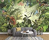 Carta da parati 3D da parete Tropical Jungle Banana Tiger Parrot Disegnato a mano Carta da parati murale vintage Carta da parati moderna Carta Da Parati moderna 3D Fotomurali spiaggia-430cm×300cm