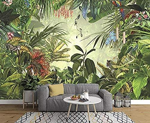 Carta da parati moderna della giungla tropicale disegnata a mano del pappagallo della giungla tropicale della banana della giungla tropicale carta da parati 3D fotomurali murale adesivo m-400cm×280cm
