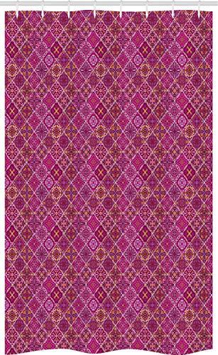 ABAKUHAUS marokkanisch Schmaler Duschvorhang, Altes Kariertes Rosa, Badezimmer Deko Set aus Stoff mit Haken, 120 x 180 cm, Ringelblume Magenta Lila